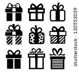 vector black gift icon set on... | Shutterstock .eps vector #130553039