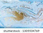 blue and gold marbling pattern. ... | Shutterstock . vector #1305534769