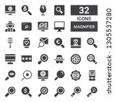 magnifier icon set. collection... | Shutterstock .eps vector #1305537280