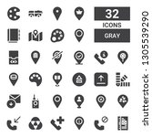 gray icon set. collection of 32 ...