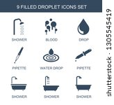 9 droplet icons. trendy droplet ... | Shutterstock .eps vector #1305545419