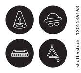4 linear vector icon set  ... | Shutterstock .eps vector #1305546163