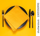 yellow and black table setting. ... | Shutterstock . vector #1305550990