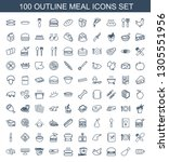100 meal icons. trendy meal... | Shutterstock .eps vector #1305551956