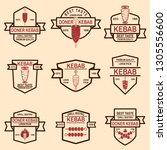 set of vintage doner kebab... | Shutterstock .eps vector #1305556600