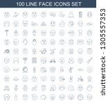 face icons. trendy 100 face... | Shutterstock .eps vector #1305557353