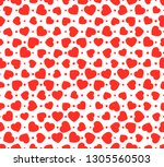 red hearts seamless vector... | Shutterstock .eps vector #1305560503