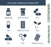 capsule icons. trendy 9 capsule ... | Shutterstock .eps vector #1305560680