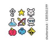 pixel art abstract icons set...   Shutterstock .eps vector #1305561199