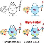 egg painter with a brush and...   Shutterstock . vector #130556216