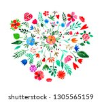 watercolor hand painted floral... | Shutterstock . vector #1305565159