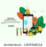 online delivery service concept ...   Shutterstock .eps vector #1305568216