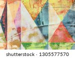 decorative pattern with faded...   Shutterstock . vector #1305577570