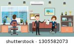 business people on workplace in ... | Shutterstock .eps vector #1305582073