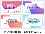 virtual reality technology... | Shutterstock .eps vector #1305591376