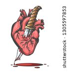 bleeding human heart pierced by ... | Shutterstock .eps vector #1305597853