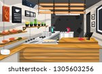 clean coffee shop pantry with... | Shutterstock .eps vector #1305603256