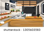 coffee shop pantry with brown... | Shutterstock .eps vector #1305603583