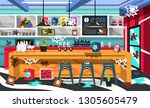 dirty coffee shop room with... | Shutterstock .eps vector #1305605479