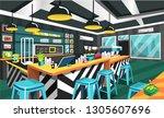 clean coffee shop modern style... | Shutterstock .eps vector #1305607696