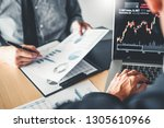 Small photo of Business Team Investment Entrepreneur Trading discussing and analysis graph stock market trading,stock chart concept