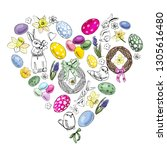 heart with happy easter theme... | Shutterstock .eps vector #1305616480