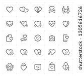 icon set   heart outline stroke ... | Shutterstock .eps vector #1305616726