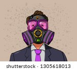 A Man Wearing A Gas Mask To...