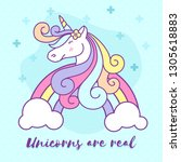 cute unicorn cartoon character... | Shutterstock .eps vector #1305618883