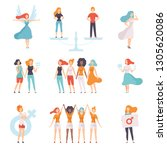 young women of different... | Shutterstock .eps vector #1305620086