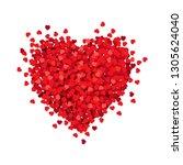 red heart isolated white... | Shutterstock . vector #1305624040