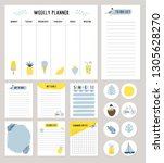 set of cute summer planners and ... | Shutterstock .eps vector #1305628270