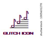 music notes icon flat. simple... | Shutterstock .eps vector #1305631270