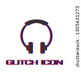 headphone icon flat. simple... | Shutterstock .eps vector #1305631273
