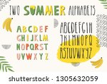 set of two alphabets for summer ... | Shutterstock .eps vector #1305632059