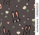 cute cartoon baby rabbit or...   Shutterstock .eps vector #1305632233