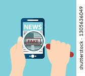 fake news or fact scanning with ... | Shutterstock .eps vector #1305636049