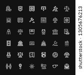 editable 36 law icons for web... | Shutterstock .eps vector #1305676213
