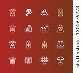 editable 16 pollution icons for ... | Shutterstock .eps vector #1305676273