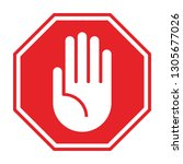 no entry hand sign on white... | Shutterstock .eps vector #1305677026