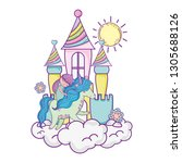 unicorn and princess with...   Shutterstock .eps vector #1305688126