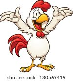 happy cartoon chicken with...