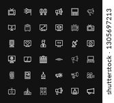 editable 36 broadcasting icons... | Shutterstock .eps vector #1305697213