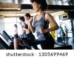 group of young people running... | Shutterstock . vector #1305699469
