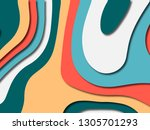 colorful carving art.paper cut... | Shutterstock . vector #1305701293