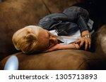 evening nap. senior woman... | Shutterstock . vector #1305713893