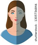 portrait of a beautiful young... | Shutterstock .eps vector #1305736846