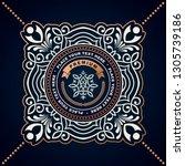 floral frame or label in... | Shutterstock .eps vector #1305739186