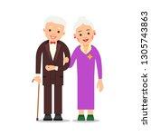old couple. elderly man in suit ... | Shutterstock .eps vector #1305743863