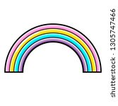 rainbow icon. line art. white... | Shutterstock .eps vector #1305747466